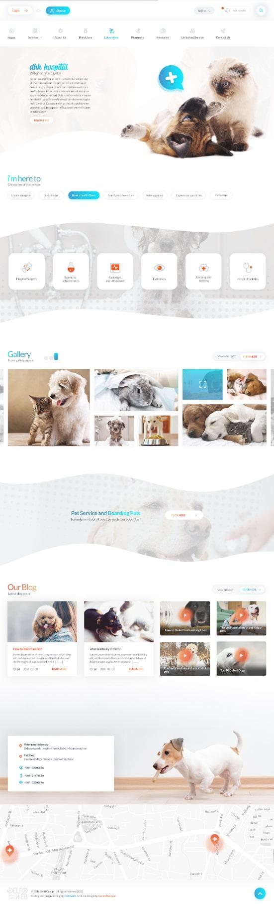 طراحی گرافیک سایت بیمارستان حیوانات DHH